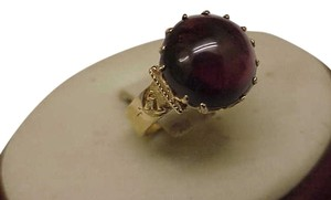 Other Super Nice Fancy 14K Gold Victorian Ring 4.00+ Carat Genuine Garnet Great Mount, 1800s