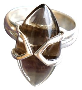 & Other Stories Beautiful Smoky quartz gemstone sterling silver ring in size 8