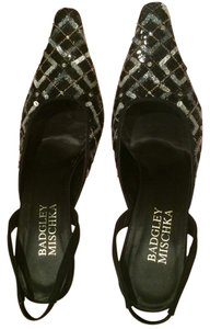 Badgley Mischka Beaded Formal black silver Pumps