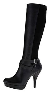 Kenneth Cole Curvy Heel Platforms High Black Boots