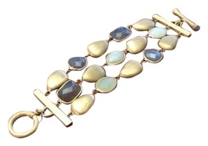 Other Stone-Brushed Gold Triple Strand Bracelet
