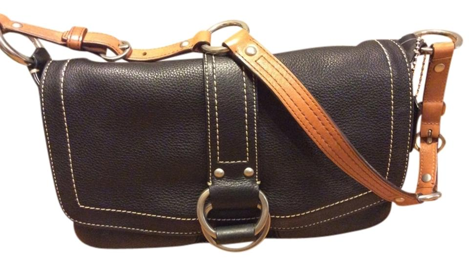 031763587b Coach With with A Brown Strap Black & Tan Leather Shoulder Bag 66% off  retail