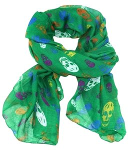 Other Skull Print Green Multitone Fashion Candy Scarf