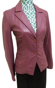 Italian Maker Made In Italy Leather Soft Blazer Moto Buttoned Fitted Casual Career Professional Elegant Cute Pretty Feminine Women Deep Pink Leather Jacket