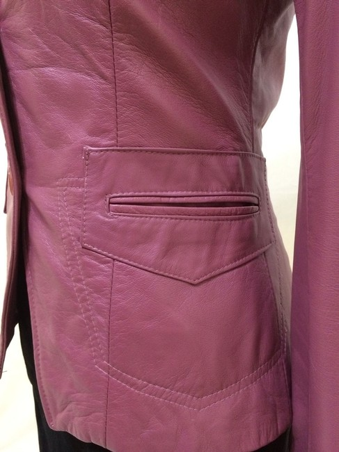 Italian Maker Made In Italy Soft Blazer Moto Buttoned Fitted Casual Career Professional Elegant Cute Pretty Feminine Women Ladies Deep Pink Leather Jacket