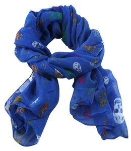 Skull Print Blue Multitone Candy Fashion Scarf