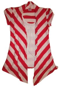Derek Heart Stripes Lace Floral Top White, Pink