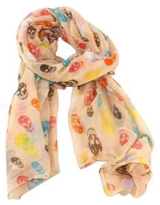 Other Skull Print Apricot Multitone Fashion Candy Scarf