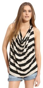 Ella Moss Oatmeal and Black Stripes Halter Top
