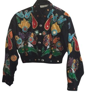 Lew Magram Sequin Embellished Embroidered Black/Multi Jacket