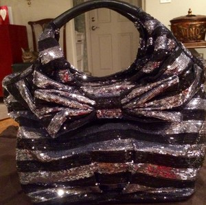 Kate Spade Formal Bow Sequin Leather Shoulder Bag