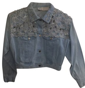 Cache Applique Beaded Crystal Light Blue Denim -Embellished Womens Jean Jacket