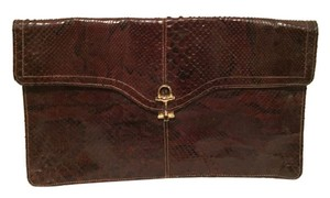 Snake Skin Vintage Clutch Coffee Brown Clutch