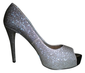 a.n.a. a new approach Glitter Peep Toe Ombre Silver Pumps