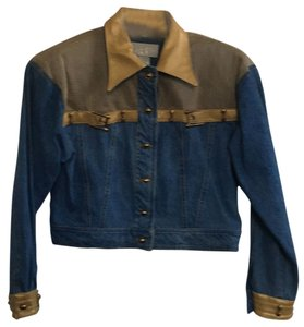 Cache Embellished Denim Blue/Gold Leather trim Womens Jean Jacket