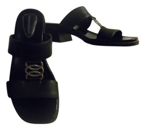 Naturalizer Silver Metal Detail Chunky black Sandals