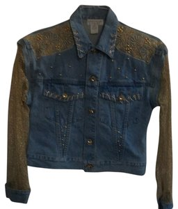Lew Magram Embellished Denim Mesh Blue denim/embellished Womens Jean Jacket