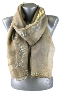 Other Skull Print Taupe Multitone Fashion Scarf