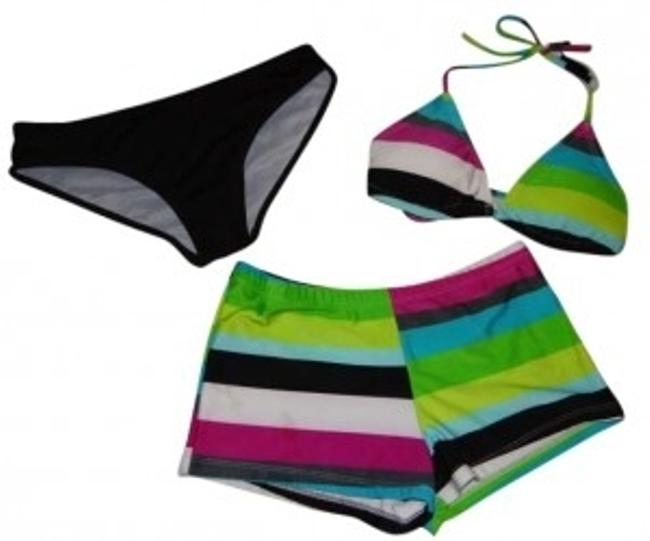 Preload https://img-static.tradesy.com/item/141139/green-blue-pink-white-gray-black-stripes-3-piece-with-triangle-top-bottoms-and-shorts-bikini-set-siz-0-0-650-650.jpg