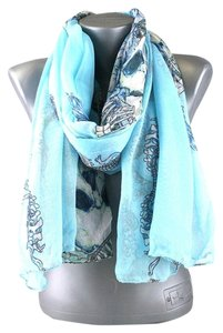 Skull Print Blue Multitone Fashion Scarf
