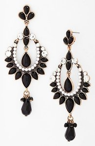 Nordstrom Nordstrom Missing Piece Black Faux Pearl Hoop Statement Earrings