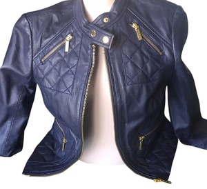 MICHAEL Michael Kors Dark Midnight / Navy Leather Jacket