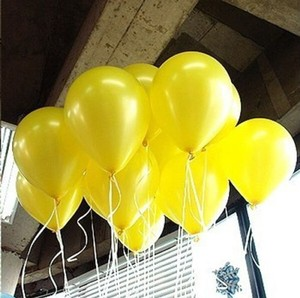"Yellow 100 Pcs - 10"" Color Birthday Wedding Party Decor Latex Balloons Indoor Outdoor Decoration"