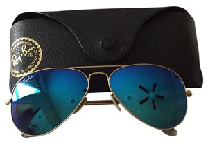 Ray-Ban Ray-Ban 'RB3025' Unisex Matte Gold/ Blue Metal Aviator Sunglasses
