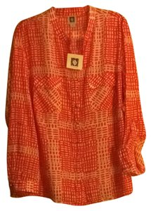 Anne Klein Top Orange And White