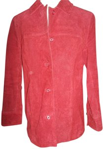 Jaclyn Smith Smith Leather Stitched Detail Small Red Leather Jacket