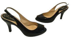 Cole Haan All Leather Peep Toe Black patent Pumps