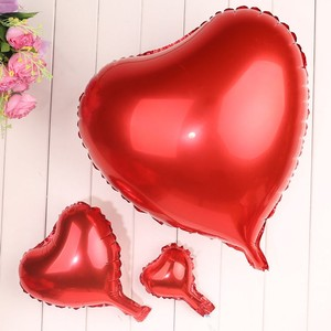 """Red 5 Pcs - 18"""" Color Birthday Wedding Party Decor Foil Heart Shape Balloons Indoor Outdoor Decoration"""