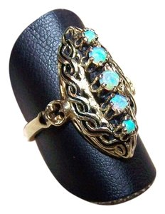 Victorian Unique 18K Yellow gold Genuine Opal Black Enamel Filigree Ring, late 1800s