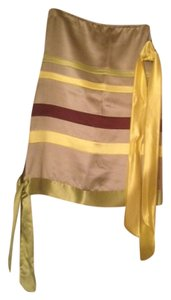 See by Chloé Chloe Satin Tie Skirt Grey, lime, yellow and burgundy