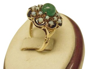 Other Victorian Solid 18k yellow gold, genuine opal & black enamel ring, from 1800s .