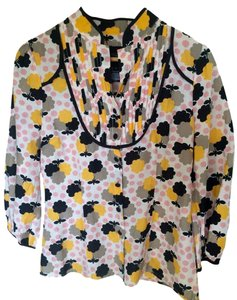 Sanctuary Clothing Vintage Button Down Shirt Pink yellow black taupe and ivory floral