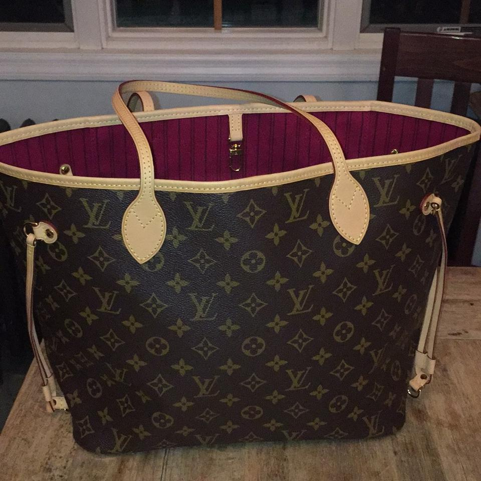 48d5ecb88c77 Louis Vuitton Neverfull Mm New Tote in Monogram with pivoine (pink) lining  Image 0 ...