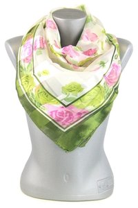 Silky Square Satin Floral Print Scarf
