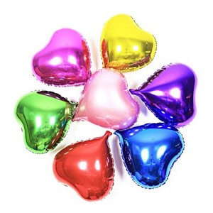 """Red / Silver 10 Pcs - 10"""" Color Birthday Wedding Party Decor Foil Heart Shape Balloons Indoor Outdoor Decoration"""