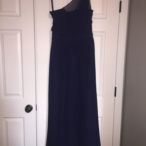 Alfred Angelo Navy Blue Chiffon Modern Bridesmaid/Mob Dress Size 10 (M)