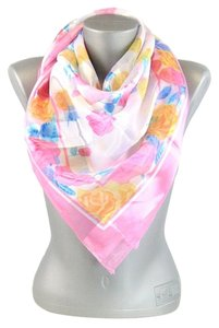 Silky Square Pink Satin Floral Print Scarf