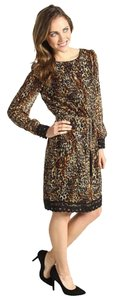 Tahari Don Print Chiffon Lace Fall Dress