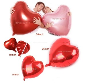 """Hot Red 30"""" Jumbo Color Large Heart Shape Foil Balloon Float By Helium Valentine Wedding Party Decoration"""