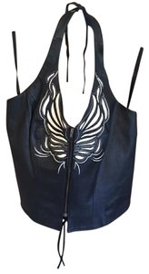 Harley Davidson Black Leather Halter Top