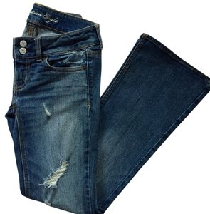American Eagle Outfitters Casual Jean Destroyed Flare Leg Jeans-Medium Wash