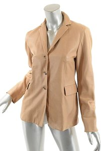 Jil Sander Leather 3 Button Camel Blazer