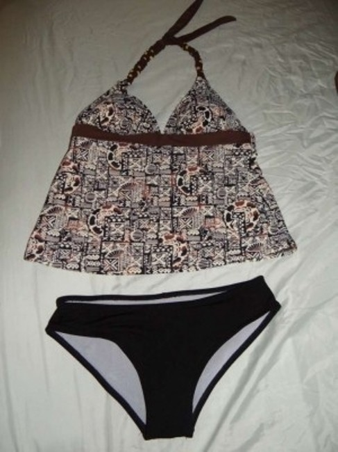 La Playa Gorgeous Print Beaded Halter Tankini with Triangle bottoms