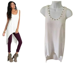 ASTR Mara Hoffmam Tori Praver Alice Olivia Cynthia Vincent Vince Theory H&m Forever 21 High Low Studded Spike Gold Nordstrom Top White