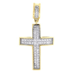 Jewelry For Less Domed Diamond Cross Pendant 10k Yellow Gold Mens Round Pave Mini Charm 0.25 Tcw.