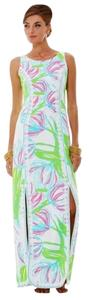 White Pink Green Maxi Dress by Lilly Pulitzer New Maxi Size 0 Sleeveless